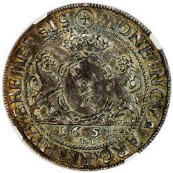 BREMEN: Ferdinand III, 1637-1657, AR 1/4 thaler, 1651. NGC MS62