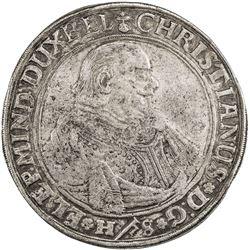BRUNSWICK-LUNEBURG-CELLE: Christian, 1599-1633, AR thaler, Clausthal mint, 1625. F-VF