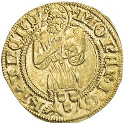 FRANKFURT: Friedrich III, 1440-1493, AV goldgulden (3.35g), ND [1491-5]. EF