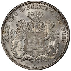 HAMBURG: Free and Hanseatic City, AR 3 mark, 1914-J. PCGS MS65