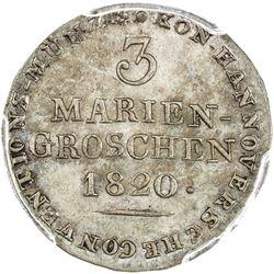HANNOVER: AR 3 mariengroschen, 1820. PCGS MS64