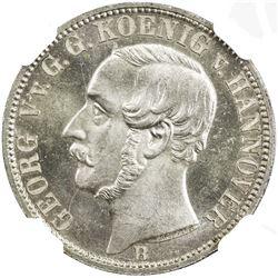 HANNOVER: Georg V, 1851-1866, AR 1/6 taler, 1859-B. NGC MS65