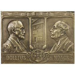 MUHLHAUSEN: AE plaque (90.34g), 1911. EF
