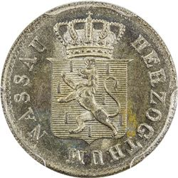 NASSAU: AR 3 kreuzer, 1844. PCGS MS66