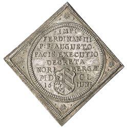 NUREMBERG (IMPERIAL CITY): Ferdinand III, 1637-1657, AR ducat klippe (4.11g), 1650. AU