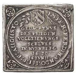 NUREMBERG (IMPERIAL CITY): Ferdinand III, 1637-1657, AR 3 ducat klippe (8.06g), 1650. EF