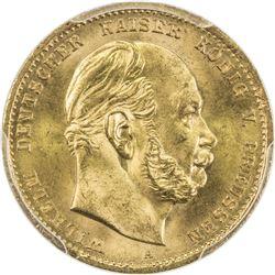 PRUSSIA: Wilhelm I, 1871-1888, AV 10 mark, 1872-A. PCGS MS66