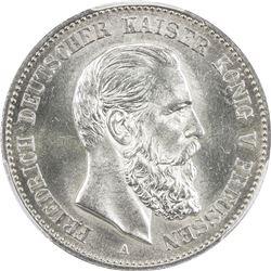 PRUSSIA: Friedrich III, 1888, AR 2 mark, 1888-A. PCGS MS64