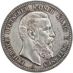 PRUSSIA: Friedrich III, 1888, AR 5 mark, 1888-A. AU-UNC