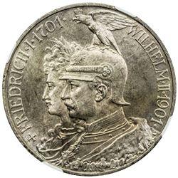 PRUSSIA: Wilhelm II, 1888-1918, AR 5 mark, 1901-A. NGC MS65