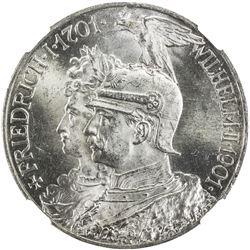 PRUSSIA: Wilhelm II, 1888-1918, AR 5 mark, 1901-A. NGC MS64
