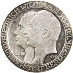 PRUSSIA: Wilhelm II, 1888-1918, AR 3 mark, 1910-A. PCGS PF64