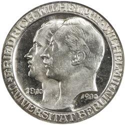 PRUSSIA: Wilhelm II, 1888-1918, AR 3 mark, 1910-A. NGC PF63