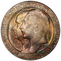PRUSSIA: Wilhelm II, 1888-1918, AR 3 mark, 1910. PCGS MS65