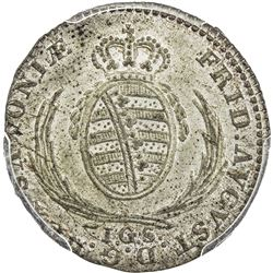 SAXONY: Frederick Augustus I, 1806-1827, AR 1/24 thaler, 1817. PCGS MS64