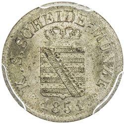 SAXONY: Frederick Augustus II, 1836-1854, AR 1/12 groschen, 1851. PCGS MS64