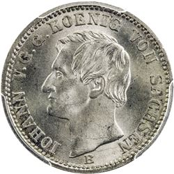 SAXONY: Johann, 1854-1873, AR 1/12 groschen, 1870. PCGS MS65