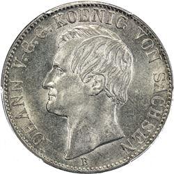 SAXONY: Johann, 1854-1873, AR thaler, 1867-B. PCGS MS62