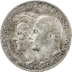 SAXE-WEIMAR-EISENACH: Wilhelm Ernst, 1901-1918, AR 3 mark, 1910-A. PCGS MS64