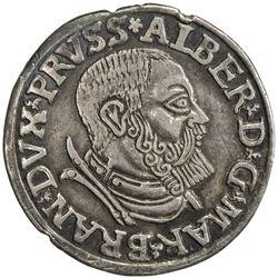 TEUTONIC ORDER: Albrecht von Braunschweig-Ansbach, 1525-1568, AR 3 groschen (2.59g), Konigsberg, 153