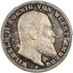 WURTTEMBERG: Wilhelm II, 1891-1918, AR 3 mark, 1913-F. PCGS PF63