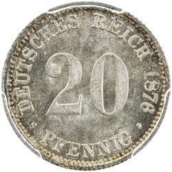 GERMANY: Wilhelm I, 1871-1888, AR 20 pfennig, 1876-B. PCGS MS64