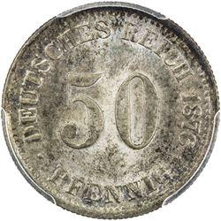 GERMANY: Wilhelm I, 1871-1888, AR 50 pfennig, 1876-E. PCGS MS64
