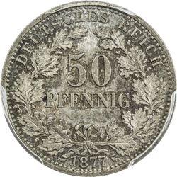 GERMANY: Wilhelm I, 1871-1888, AR 50 pfennig, 1877-B. PCGS MS66