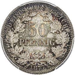 GERMANY: Wilhelm I, 1871-1888, AR 50 pfennig, 1877-E. PCGS MS66