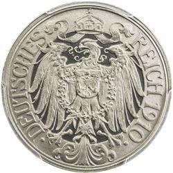 GERMANY: Wilhelm II, 1888-1918, 25 pfennig, 1910-E. PCGS PF66