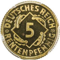 GERMANY: Weimar Republic, 5 pfennig, 1924-E. PCGS PF66