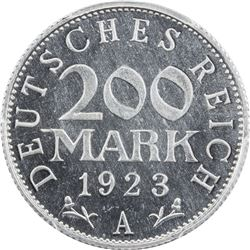 GERMANY: Weimar Republic, 200 mark, 1923-A. PCGS PF66