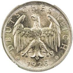 GERMANY: Weimar Republic, AR 2 mark, 1926-D. PCGS MS65