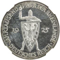 GERMANY: Weimar Republic, AR 3 mark, 1925-A. NGC PF63