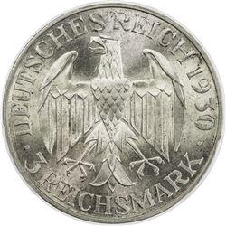 GERMANY: Weimar Republic, AR 3 mark, 1930-F. PCGS MS66