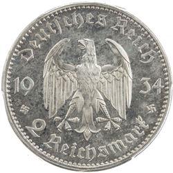 GERMANY: Third Reich, AR 2 reichsmark, 1934-E. PCGS PF64