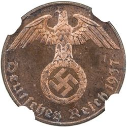GERMANY: Third Reich: pfennig, 1937-G. NGC PF