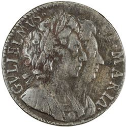 ENGLAND: William and Mary, 1689-1694, AE farthing (5.55g), 1694. F-VF