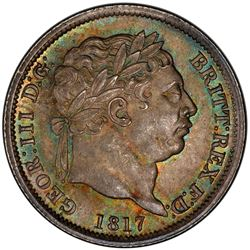 GREAT BRITAIN: George III, 1760-1820, AR shilling, 1817. PCGS MS64