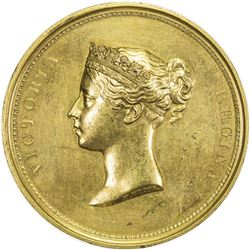 GREAT BRITAIN: Victoria, 1837-1901, gilt AE medal, 1837. EF