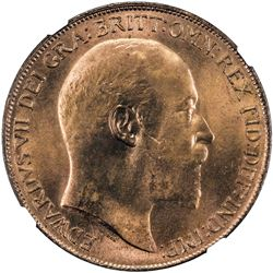 GREAT BRITAIN: Edward VII, 1901-1910, AE penny, 1910, KM-794.2, NGC graded MS65 RD