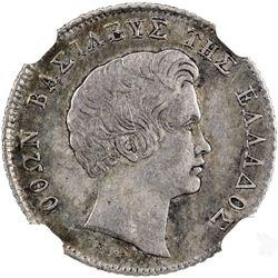 GREECE: Otto, 1832-1862, AR 1/4 drachma, 1833. NGC EF45