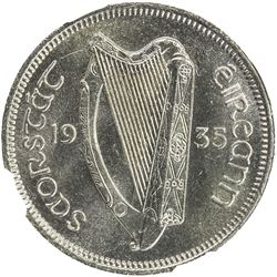 IRELAND: Irish Free State, 6 pence, 1935. NGC MS64