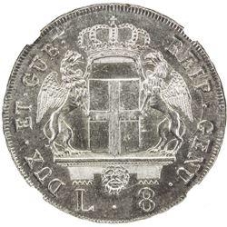 GENOA: AR 8 lire, 1796. NGC UNC