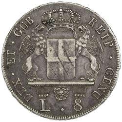 GENOA: AR 8 lire, 1796. VF