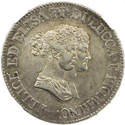 LUCCA & PIOMBINO: Felix & Elisa, 1805-1814, AR 5 franchi, 1805. NGC AU