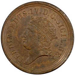 NAPLES: Ferdinand IV, 1815-1816, AE 8 tornesi, 1816. PCGS MS62