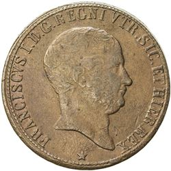NAPLES: Francesco I, 1825-1830, AE 10 tornesi, 1825. VF