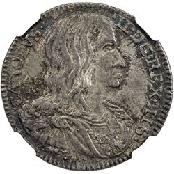 NAPLES & SICILY: Carlos II, 1665-1700, AR carlino, 1689 AGA M. NGC MS62