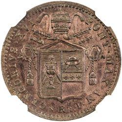 PAPAL STATES: Gregorio XVI, 1831-1846, AE 1/2 baiocco, 1831-R. NGC MS63